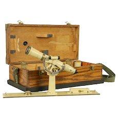 Kueffel & Esser Signed Vintage Theodolite Surveyor Transit Oak Case #32025