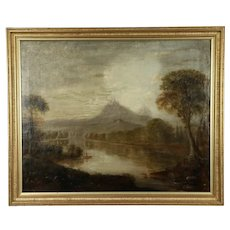 Mountain Scene at Twilight with Canoe, Antique Original Oil Painting #32053