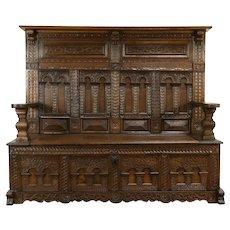 Italian Hand Hewn Oak Antique 1780 Renaissance Carved Hall Bench #32060