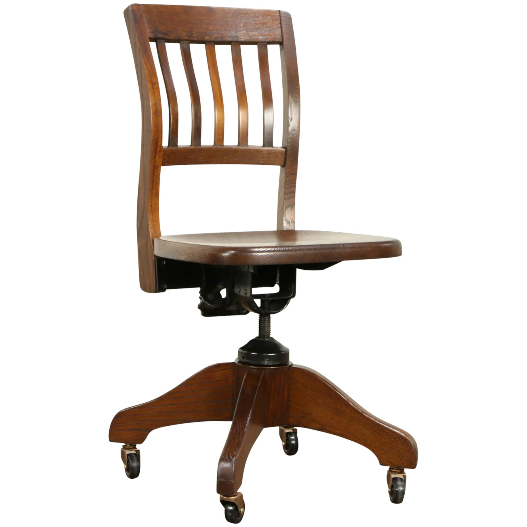Awesome Oak Quarter Sawn Antique Swivel Adjustable Desk Chair Milwaukee 32066 Gmtry Best Dining Table And Chair Ideas Images Gmtryco