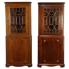 Pair of Antique English Mahogany Corner Cabinets or Cupboards #32068