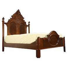 Victorian Antique Carved Walnut & Burl Queen Size Bed #32069