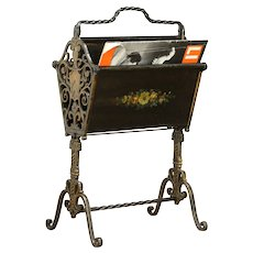 Wrought Iron Antique Magazine Rack or Music Caddy, Hand Painted #32075