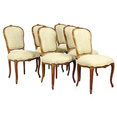 Set of 6 French Carved Beech Vintage Dining Chairs, New Upholstery #32080