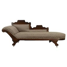 Victorian Eastlake Antique Fainting Couch, Chaise Lounge, New Upholstery #32081