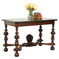 Renaissance Carved Walnut Antique Coffee Table, Black Marble Top #32083
