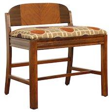 Art Deco 1930's Vintage Mahogany & Maple Bench, New Upholstery #32085