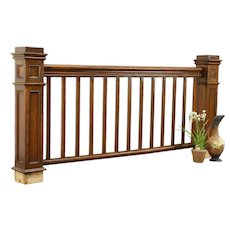 Architectural Salvage Antique Pine Railing with Newel Posts  #32104