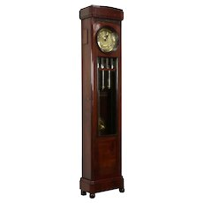 Tall Case Grandfather German Antique Mahogany Clock, Westminster Chime #32109