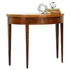 Hepplewhite Vintage Mahogany Marquetry Hall Console opens to Game Table #32112