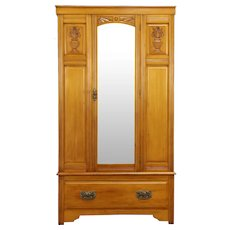English Antique Carved Armoire, Closet or Wardrobe,Beveled Mirror #32116