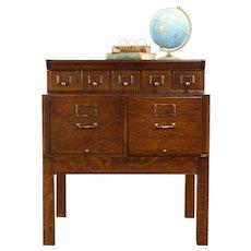 Oak Quarter Sawn Antique Stacking 7 Drawer File Cabinet, Amberg #32117