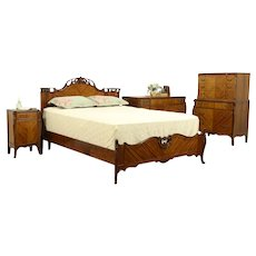 Satinwood Carved Vintage 4 Pc. Bedroom Set, Queen Size Bed #32120