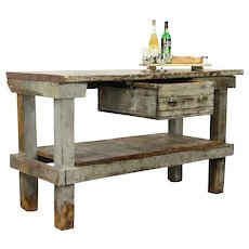 Primitive Country Pine Workbench, Kitchen Island or Wine & Cheese Table #32123