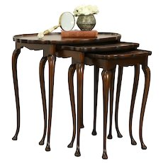 Set of 3 Antique Scandinavian Nesting Tables, Rosewood Marquetry Tops #32132
