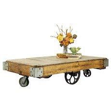 Industrial Salvage 1900 Antique Railroad Ash & Iron Cart, Coffee Table #32133