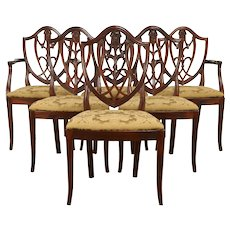 Set of 6 Vintage Shield Back Dining Chairs, England #32143