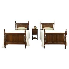 Oak English Tudor Antique Bedroom Set, 2 Single Beds, Nightstand #32149