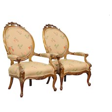 Pair of Victorian Antique 1860's Hand Carved Walnut Chairs  #32152