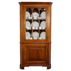 Cherry Vintage Corner Cabinet or Cupboard, Signed Old Town 1966 #32217
