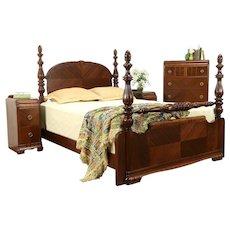 Art Deco Waterfall 4 Pc Vintage Bedroom Set, Queen Size Bed #32220