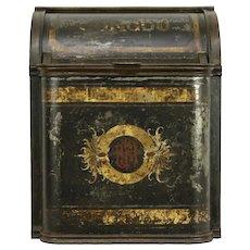 Victorian Painted Tin Antique Tea or Coffee Bin, Caddy or Hopper, Congo #32231