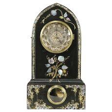 Victorian Gothic Antique Cast Iron & Pearl Clock, Ansonia, Terry Andrews  #32273