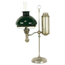 Victorian Antique Emerald Student Desk Lamp, Oil Kerosene, Manhattan 1876 #32288