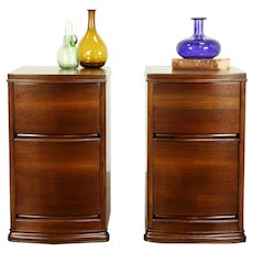 Pair of Midcentury Modern 1960 Vitnage Walnut Nightstands or End Tables #32290