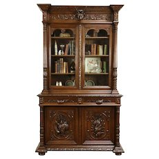 Black Forest Antique Oak Bookcase or China Cabinet, Grapevines & Game #32295