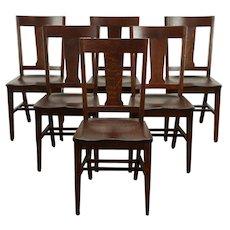 Set of 6 Arts & Crafts Mission Oak Antique Craftsman Dining Chairs #32309