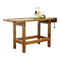 Carpenter Antique Maple Workbench, Kitchen Island or Wine & Cheese Table #32325