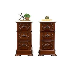 Pair of Victorian Antique Carved Walnut Nightstands or End Tables, Marble #32331