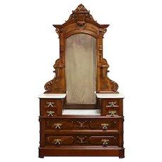 Victorian Antique Walnut Chest or Dresser, Marble & Mirror, Secret Drawer #32333