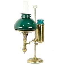 Brass Antique Student Desk Lamp, Emerald Shade, Pat Manhattan 1879 #32338