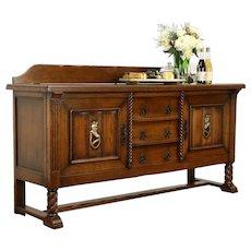 Oak Carved Antique Scandinavian Sideboard, Server, Buffet or TV Console #32344