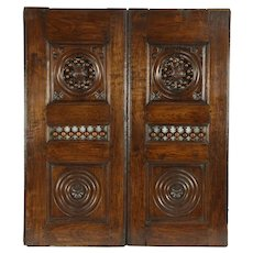 Pair Architectural Salvage Brittany French Chestnut Panels or Doors #32346