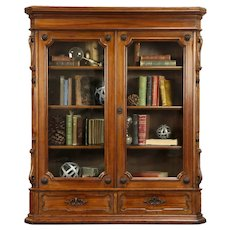 Victorian Antique 1880 Carved Walnut Library Bookcase, Adjustable Shelves #32354