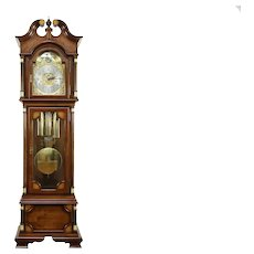 Traditional Grandfather Tall Case Cherry Clock, Signed Hamilton 1989 #32356