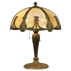 Classical Curved Stained Glass Panel Shade Antique Lamp #32360