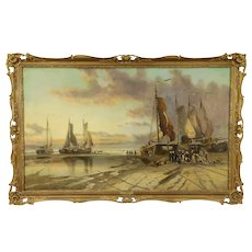 """Sailing Ships at Shore, 56"""" Wide Original Oil Painting, J. Dyer 1882 #32363"""