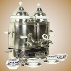 Nickel & Porcelain Antique Cafe Coffee & Hot Water Urn or Double Pot #32387