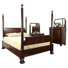 Empire Antique Mahogany 3 Pc. Bedroom Set, Queen Size Poster Bed #32388