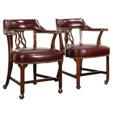 Pair Leather Vintage Rolling Game Table, Library, Office Chairs, Hickory #32431