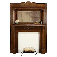 Victorian Oak Antique Architectural Salvage Fireplace Mantel & MIrror #32493