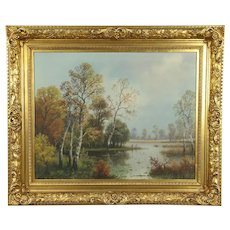 Fall Scene with Pond Original Antique Oil Painting, Signed Bandes #32538