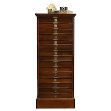 Pine Antique 15 Drawer Printer or Collector File Cabinet #32741