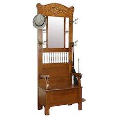 Victorian Antique Oak Hall Stand, Bench, Umbrella Stand & Mirror  #33068