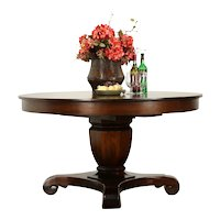 """Empire Antique Round Mahogany 54"""" Dining Table, 3 Leaves, Extends 90""""  #33093"""