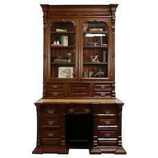 Victorian Antique Walnut Library Desk & Bookcase, Signed Bitten 1887 #33107